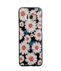 Daisy Floral Pattern Leather Feel Case for Galaxy S8