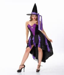 Halloween Masquerade Ball Purple Black Witch Corset Dress With Hat Costume
