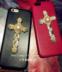 Leather Like Metal Cross Thin Case for iPhone 5 5s