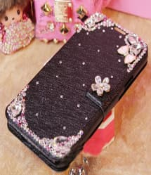 Luxury Flashy Rhinestone Flip Wallet Case for iPhone SE 5s 5