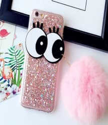 Sparkly Eye Case with Pom Pom for iPhone 7 Plus
