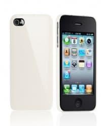Essential TPE Iro Glossy Cream White UV Coating Snap Case for iPhone 4
