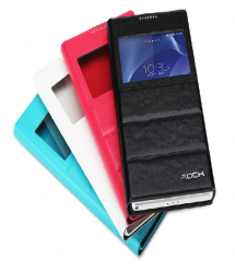 Leather Window View Flip Rock Case for Sony Xperia Z2