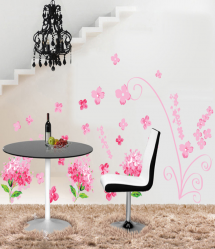 Pink Hydrangeas Wall Decal Sticker