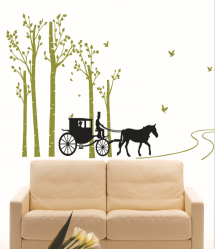Black Horse and Carriage Wall Decal Sticker