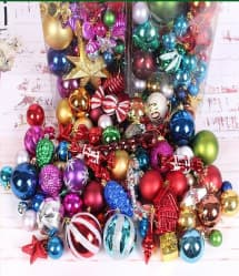 Mega Bulb and Ornament Christmas Tree Decoration Pack - 75 PCS