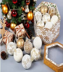 14 Elegant Christmas Tree Bulbs - Gold White