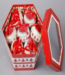 14 Elegant Christmas Tree Bulbs - White Red