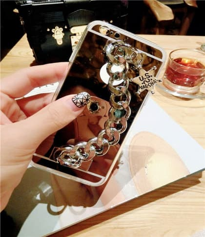 Metal Chain Clutch Reflective Case for iPhone 7 With Emblem