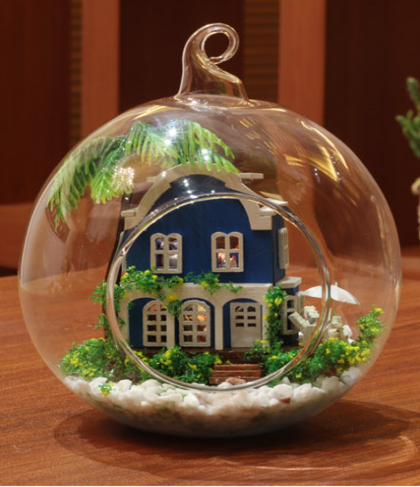 Voice Control Led Lights DIY Miniature House Model Glass Globe Ornament
