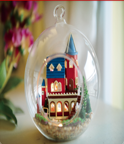 Alice Wonderland DIY Miniature House Model Glass Globe Ornament with Led Lights Christmas Gift Idea